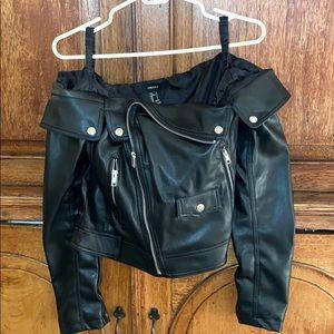 Off the Shoulder Leather Jacket